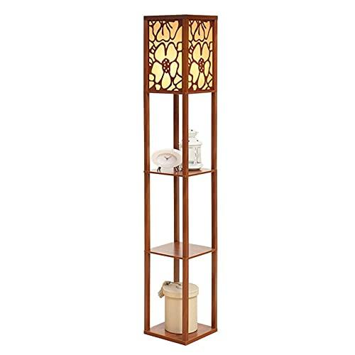 Indoor Houten vloerlamp, met planken, staande lamp met 3 lagen weergave opslag voor slaapkamer nachtkastje woonkamer…