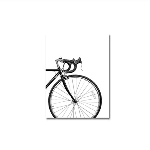 xwpox Minimalist Bike Print Bicycle Wall Art Canvas Paintings Black and White Nordic Scandinavian Poster Pictures Home Decor, A 20x28inch (50x70cm)