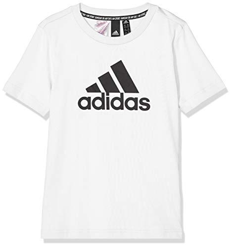 Adidas YB MH Bos T, T-Shirts Bambino, White/Black, 13-14A