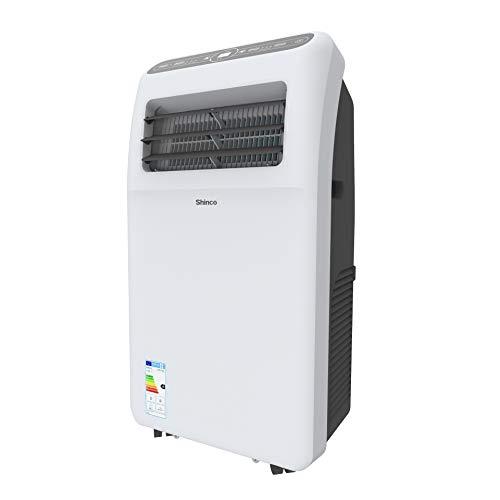 Shinco 2,6kW Mobile Klimageräte 9000BTU Tragbare Klimaanlagen, Kühlung und Entfeuchtung, Lüftermodus, LED-Anzeige, Fernbedienung, weiß, [Energieklasse A] bis 34m²