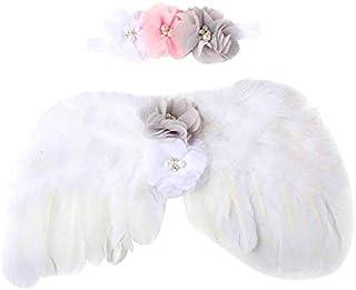 Newborn Kids Angel Feather Wings Costume with Set of Chiffon Flower Rhinestone Halo Headband ( White)