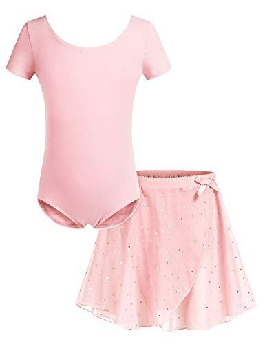 Bricnat Mädchen Ballettkleidung Ballettkleid Tanzbody Gymnastikanzug Balletttrikot Kurzarm Tanzkleid mit Tütü Kinder Baumwolle Rosa pink 140
