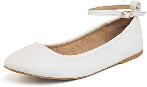 Dream Pairs Sole-Fina-Straps Zapatos Bailarina Correas Tobillo para Mujer Blanco 41 EU/10 US