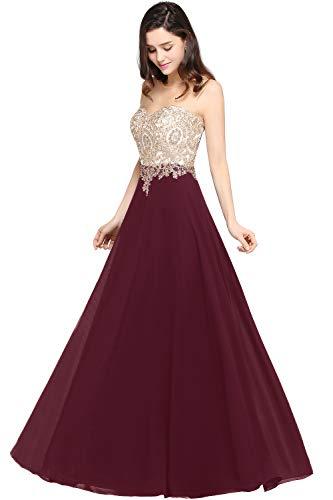 MisShow Damen elegant A Linie Chiffon Abendkleider elegant für Hochzeit Ballkleider Abschlusskleider Weinrot 32