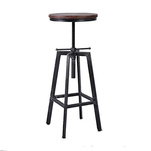 WYZQQ Barkruk, creatief, van smeedijzer, messing, draaibaar, stoel van massief hout, accessoires van kruk, barkruk, verstelbaar, industrieel en retro