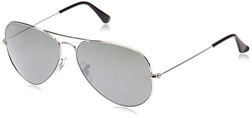 Ray-Ban Herren RB3025 Aviator Sonnenbrille, Silber(Gestell: Silber, Gläser: Silber verspiegelt)