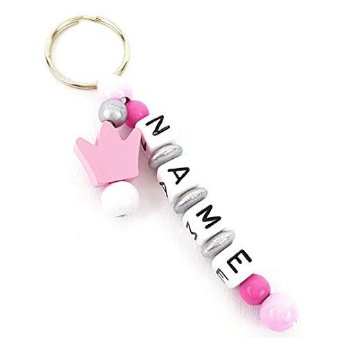 Schlüsselanhänger mit Namen in Rosa und Krone Motivperle für Rucksack, Wickeltasche, Kindergarten oder Schultasche, Individuelle Gravur Mädchen Baby Namenskette/Namensanhänger mit Name