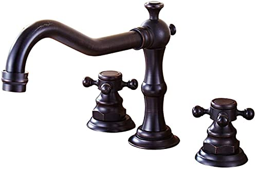 Grifo para lavabo con 3 orificios negro Grifo mezclador de dos manos para baño Latón