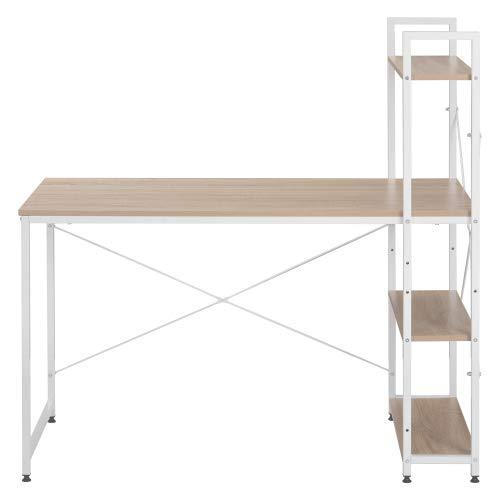 Boomersun Escritorio, mesa de ordenador, mesa de oficina, mesa de trabajo, con estante, para oficina, salón, escuela, 120 x 60 x 74 cm
