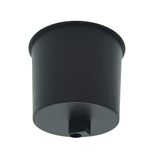 Baldaquino negro mate plástico con tornillo de bloqueo para cable de lámpara, lámpara de techo, diámetro 72 mm, altura 62 mm