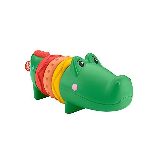 Fisher-Price Alligator Cliquetis jouet d'éveil bébé avec bruits de hochet, 6mois et plus, GWL67