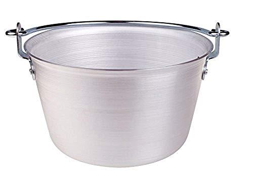 Pentole Agnelli ALMA14452 Paiolo per Polenta, in Alluminio, con Manico ad Arco, Acciaio Inossidabile, 50 Litri, Argento