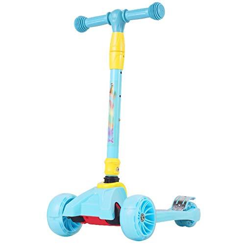 Poids Léger Girl Flash Kick Scooter, Maigre  N Glide Scooter avec des Roues d éclairage de PU Extra Large et des hauteurs réglables pour Les Enfants de 3 à 12 Ans Conduite Douce (Color : Blue)