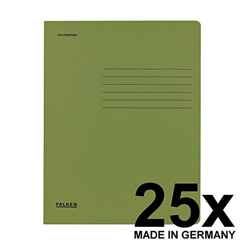 Original Falken 25er Pack Einschlagmappe. Made in Germany. Aus Recycling-Karton mit 3 Innenklappen für DIN A4 grün Juris-Mappe Sammelmappe Dokumentenmappe Aufbewahrungsmappe