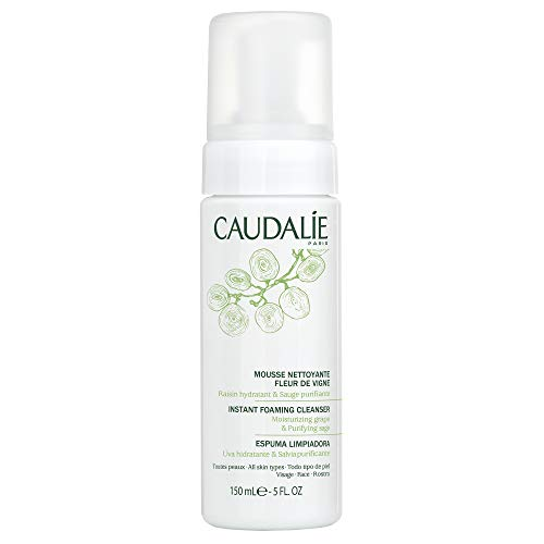 Caudalie Instant Foaming Cleanser: Daily Facial Cleanser that Cleanses, Soothes, Reduces Redness, 5.1 Ounce