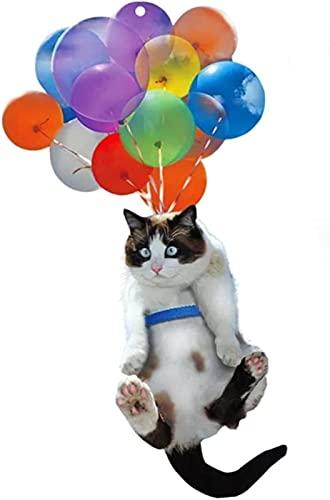 MWKL Ornamento del Coche del Gato de la piña, Ornamento Colgante del Coche del Gato con el Globo Colorido, decoración Interior del Coche Colgante del Amante del Gato Que cuelga la decoración del Gato