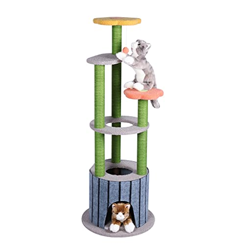 SCDCWW Cats Climbing Frame with Scratching Post Funny Cats Toys Cats Tree Tower Jump Protecting Furniture House for Cats Kittens Pets