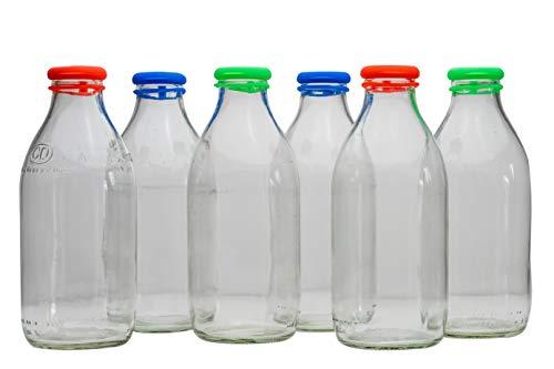 MilkTopz - 6 x 100% LeakProof, Airtight, Reusable Silicone Milk Bottle Tops for UK 1 Pint Milk Bottles x 6 (Multi Colour) - BOTTLES NOT INCLUDED