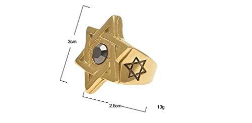 Creative Art - Anillo chapado en oro de 14 quilates con diseño de estrella de David Hexagrama hematita. Joyería para hombre de la religión judía