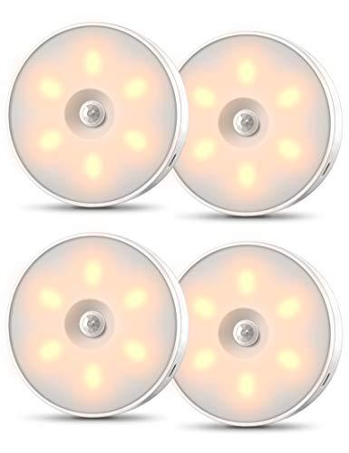 Otdair Nachtlicht mit Bewegungsmelder, Stick-On, Warme LED, 4 Stk, 3 Modi USB Nächtliche Mit Bewegungsmelder für Bad, Treppe, Flur, Küche, Schrank, Kleiderschrank und Schrank