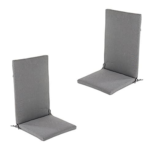 Edenjardi Lot de 2 Coussins pour Fauteuil inclinable d'extérieur Couleur Anthracite | Dimensions: 48x114x5 cm | Imperméable | Déhoussable | Livraison Gratuite