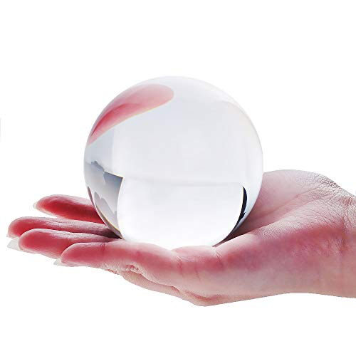DSJUGGLING Clear Acrylic Contact Juggling Ball 4' - 100mm Great for Beginners, isolations, Body...
