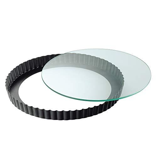 Kaiser Inspiration Tarteform mit Hebeboden Glas 28 cm, Quicheform antihaftbeschichtet, herausdrückbarer Hebeboden, schnittfest, servierfertig