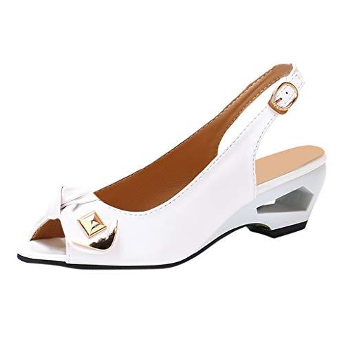 DIPOLA Frauen Fisch Mund lässig Keil Sandalen Schnalle Freizeitschuhe einzelne Schuhe Sandalen offene Zehe niedrigen Ferse Sandalen