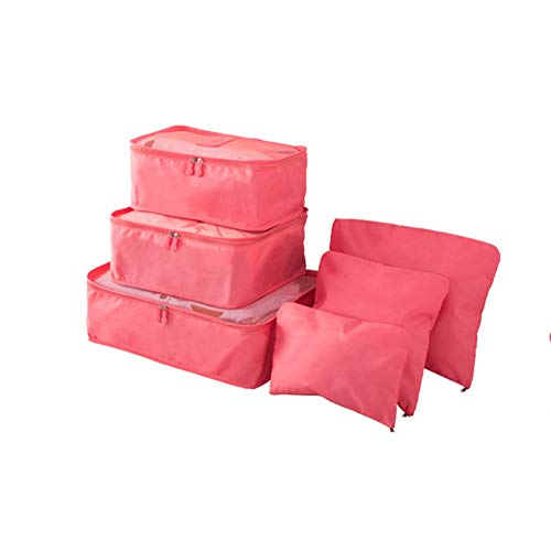 WANGIRL Organiser Luggage Organiser Bag 6-Piece Set Packing Cubes Travel Storage Bags Oxford Materials for Holiday Baggage, Backpacking, Air Travel Storage (Color : Red)
