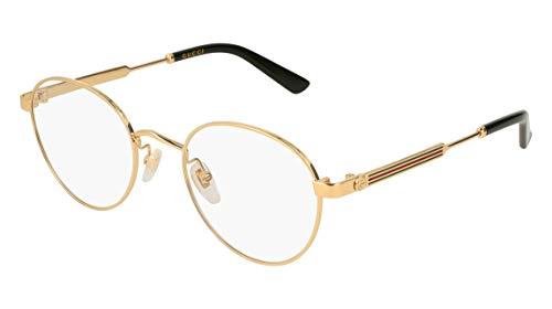 Gucci Unisex – Erwachsene GG0290O-001-50 Brillengestell, Gold-Gestreift Grün, 50