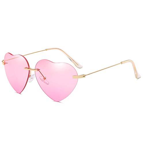 Dollger Gafas de sol con forma de corazón para mujer, marco de metal fino, gafas de sol UV400, color, talla Geeignet für alle Gesichtsformen