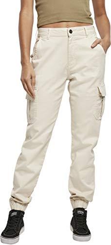 Urban Classics Damen Ladies High Waist Cargo Pants Hose, Whitesand, 34W Regular EU
