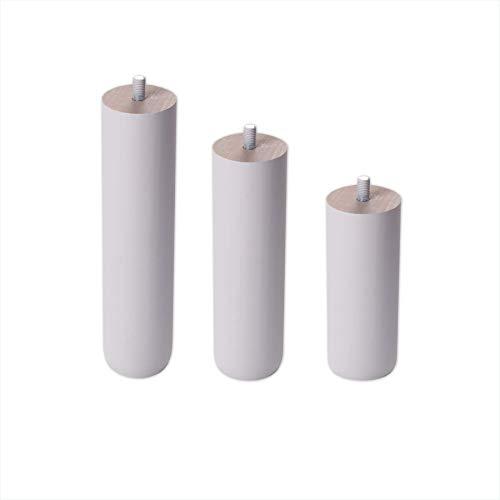 Dreaming Kamahaus Patas Redondas de Madera Color Blanco - Altura 15 cm - Rosca de Metrica 10 (1 cms) - Packs de 4 uds de 15 cm
