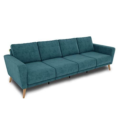 KAUTSCH Lotta Viersitzer Sofa für Wohnzimmer zerlegbar - Couch 4-sitzer - Polstersofa groß - B 260 cm - ohne Longchair - Petrol - Holzfüße aus Eiche