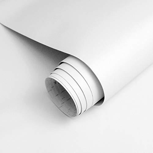 Homease Klebefolie Möbel Selbstklebende, PVC Selbstklebende Tapete Weiß Matte, 3 x 0.4 M, verdickt wasserdicht Möbelfolie, Dekofolie für Küchen Schränken Wand Tischplatte