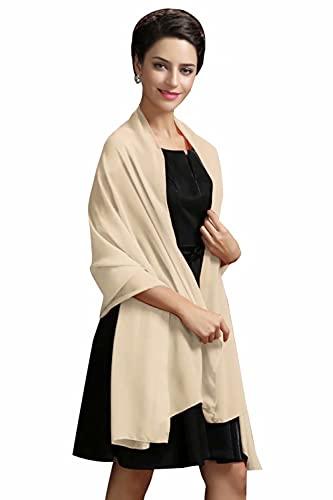 MisShow Damen Festlich Stola Sommer Schal Sonnenschutz für Hochzeit Abendkleid Sandstrand Halstücher Seidentuch(Beige,Einheitsgröße)