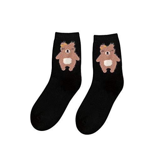 AKAIDE Socken für Damen, Baumwoll-Mischgewebe, witzige Wintersocken, mittellang, süßer Bären-Stil, warme Strümpfe, 5 Paar Gr. One size, Schwarz
