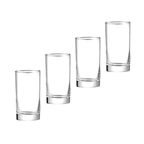 UOhost 4 PCS 12 OZ Heavy Base Glassware Drinking Glasses, Clear Glass Drink Cups Wine Glass