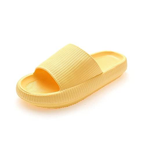 MLLM Zapatillas de interior suaves sin cordones, zapatillas de baño gruesas, par anti-arena-amarillo_38/39, sandalias de ducha toboganes de playa y piscina