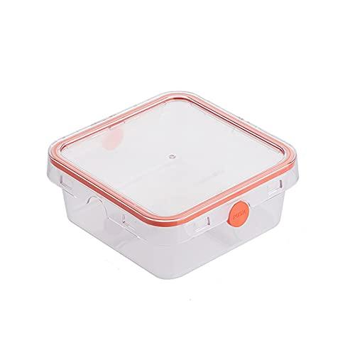 Sebasti Caja de almacenamiento de plástico con tapa transparente para guardar especias, 15,6 x 15,6 x 6,7 cm, color rosa
