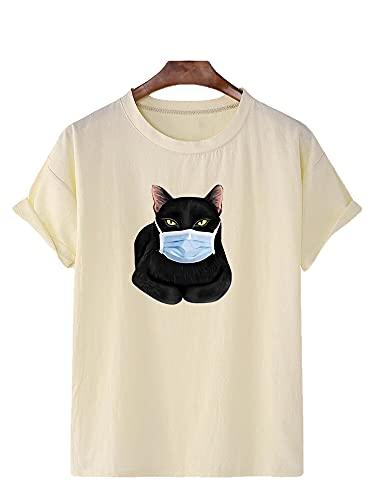 T-Shirt Herren Sommer Basic Rundhals Herren Shirt Atmungsaktiv Persönlichkeit Druck Kurzarm Herren Freizeitshirt Komfortabel Moderner Trend Herren Streetwear J-Beige L