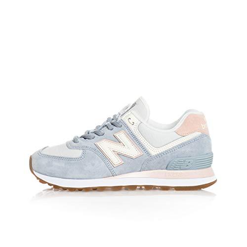 New Balance Mädchen WL574SUO Trailrunning-Schuh, Hellblau Crème Hellrosa, 32 EU