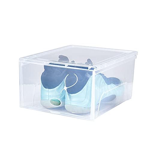 YUANB Paquete de Caja de la azada de 6 Organizador de Almacenamiento de Zapatos con Panel Frontal Claro apilable Espacio Ahorro de Zapatos Plegable contenedor Transparent