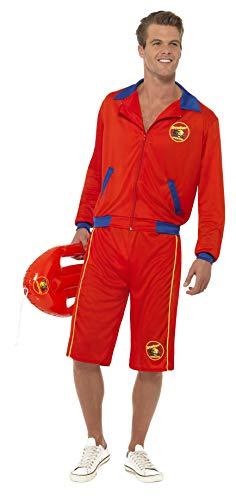 Smiffys Licenciado oficialmente Costume de maître-nageur plage homme Baywatch, Rouge, avec veste et short long