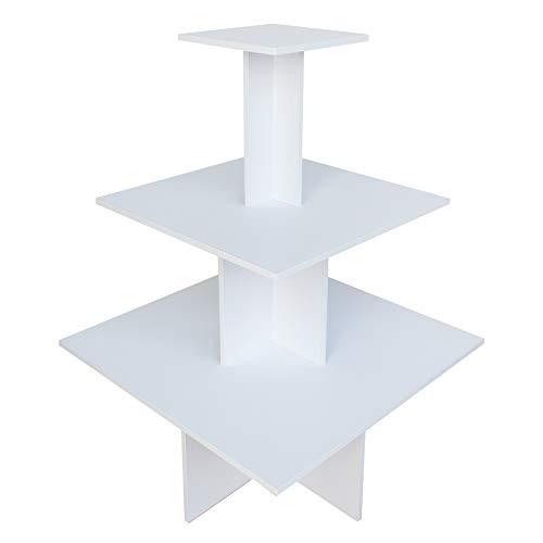 Dila GmbH Pyramidentisch New York Verkaufstisch aus Holz Verkaufsregal 3 Ebenen Gesamthöhe 135 cm (weiß)