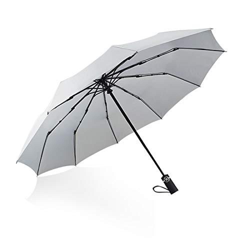Shuang Ten Bones Automatic Umbrella Folding Men and Women Business Umbrella for rain or Shine, 30% Off 10K 灰色
