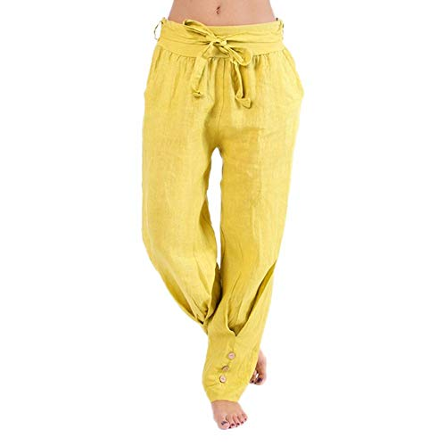 Haremshose Damen Sommerhose Damen Leicht Pumphose Culottes Hosen Boho Hose Plus Size Loose Einfarbig Sport Umstandshose Hippie Kleidung Haremshosen Frauen Aladinhose (Yellow, XXXL)
