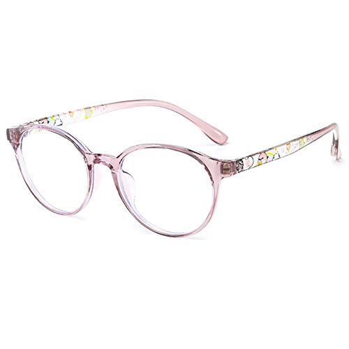 KOOSUFA Kinderbrille Ohne Stärke Blaulichtfilter Rund Brillenfassung Brillengestell Anti Blaulicht Brillen TR90 Rahmen Anti Müdigkeit für Mädchen und Jungen (Lila rosa)