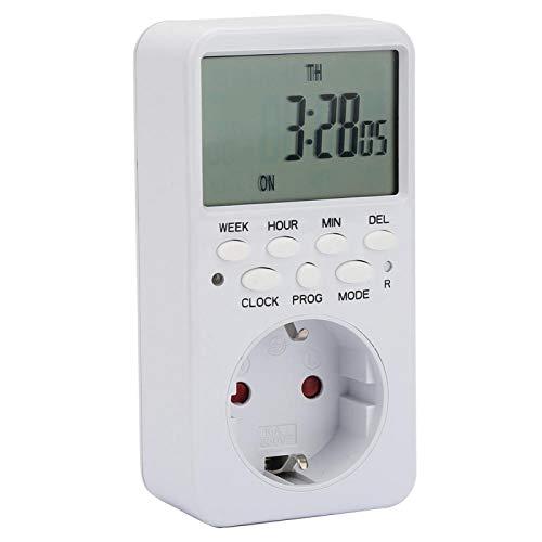Jeanoko Interruptor del medidor de Tiempo Pantalla Digital programable Interruptor de calculador Circular de 7 días para(European Plug)