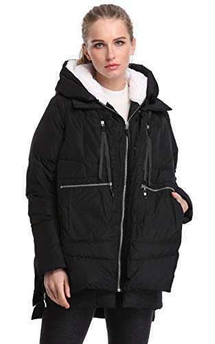 FADSHOW Women's Winter Thickened Down Jackets Long Down Coats Warm Parka with Hood,Black,L